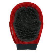 Kézfejre húzható gumisörtés kefe, piros-fekete