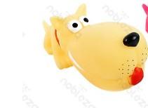Óriás kutyafej formájú sípoló kutyajáték, sárga