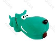 Óriás kutyafej formájú sípoló kutyajáték, zöld, 17.5cm