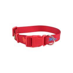 Mintás textil nyakörv, többféle méretben, Sz1.5*H25-40cm,, piros