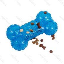 TPR Kutyacsont formájú, kék színű kutyaeledel tartó szórakoztató játék H17.5 x Sz8CM