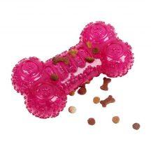 TPR Kutyacsont formájú, pink színű kutyaeledel tartó szórakoztató játék H17.5 x Sz8CM