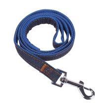 Farmer anyagból készült kék belsejű póráz, kisebb testű kutyáknak, Sz1.5*H120 cm