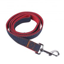 Farmer anyagból készült piros belsejű póráz, kisebb testű kutyáknak, Sz1.5*H120 cm