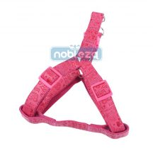 """Rózsaszín bőr hatású nyomott mintás kutyahám """"S"""" méretű 1.5cm x 30-50cm"""