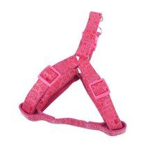 """Rózsaszín bőr hatású nyomott mintás kutyahám """"M"""" méretű 2.0cm x 40-60cm"""
