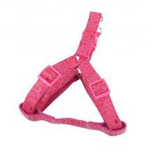 """Rózsaszín bőr hatású nyomott mintás kutyahám """"L"""" méretű 2.5cm x 60-70cm"""
