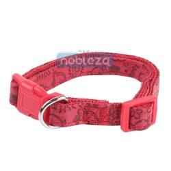 Piros színű bőr hatású nyomott mintás kutyanyakörv 2.5cmx40-60cm