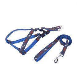 """Kék """"S"""" méretű Farmer hatású kutya hám és póráz szettben, választható színekben 1.5x30-50cm"""