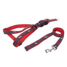 """Piros """"S"""" méretű Farmer hatású kutya hám és póráz szettben 1.5cm*H30-50cm"""