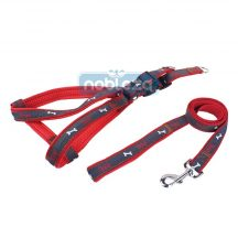 """Piros """"L"""" méretű Farmer hatású kutya hám és póráz szettben 2.5cm*H50-70cm"""