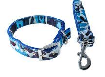 Kék terepmintás kutyanyakörv és póráz szett, 2.5x35-52 cm