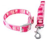 Rózsaszín terepmintás kutyanyakörv és póráz szett, 2.5x35-52 cm