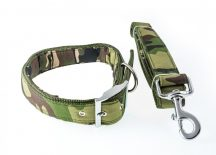 Zöld terepmintás kutyanyakörv és póráz szett, 3.0 cm