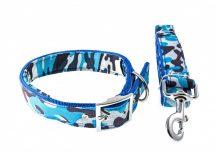 Kék terepmintás kutyanyakörv és póráz szett, 4.0 cm