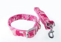 Rózsaszín terepmintás kutyanyakörv és póráz szett, 4.0 cm