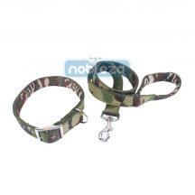 Zöld terepmintás kutyanyakörv és póráz szett, 4.0 cm