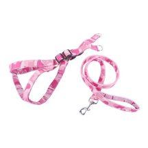 """Rózsaszín terepmintás kutyahám és póráz szett, """"XL"""" méret, 4.0cm x70-90cm"""
