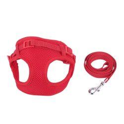 """Piros mellény és póráz szett """"M"""" méret 1.5cmx120cm; 1.5cmx30-50cm"""