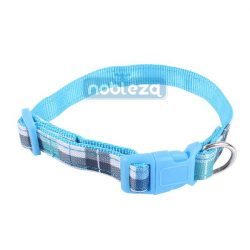 Kék kockás mintás nyakörv, 1.5cm x 25-40cm