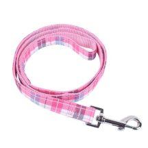 Rózsaszín kockás mintás póráz, 1.5cm x 120cm