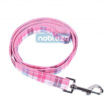 Rózsaszín kockás mintás póráz, 2.5cm x 120cm