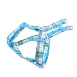 """Kék kockás mintás textil kutyahám """"S"""" méret, 1.5cm x 30-50cm"""