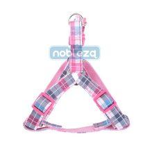 """Rózsaszín kockás mintás textil kutyahám """"S"""" méret, 1.5cm x 30-50cm"""