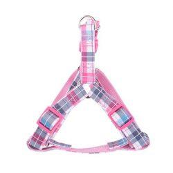 """Rózsaszín kockás mintás textil kutyahám """"M"""" méret,2.0cm x 40-60cm"""