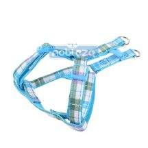 """Kék kockás mintás textil kutyahám """"L"""" méret, 2.5cm x 50-70cm"""