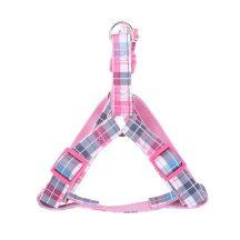 """Rózsaszín kockás mintás textil kutyahám """"L"""" méret, 2.5cm x 50-70cm"""