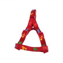 """Piros alapon színes kutyamintás hám egyszínű textil """"XS"""" méret, 1cm x 25-40cm"""