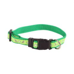 Zöld mintás textil nyakörv, 1.0cmx20-30cm