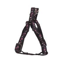 """Fekete mintás textil hám """"XS"""" méret, 1.0cm x 25-40cm"""