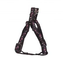 """Fekete alapon mintás kutyahám egyszínű textil """"S"""" méret, 1.5cm x30-45cm"""