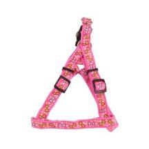 """Rózsaszín alapon mintás kutyahám egyszínű textil """"S"""" méret, 1.5cm x30-45cm"""