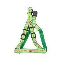 """Zöld alapon mintás kutyahám egyszínű textil """"S"""" méret, 1.5cm x30-45cm"""