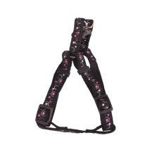 Fekete alapon mintás textil hám, 2.5cm x 50-70cm