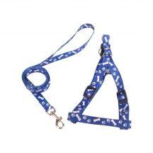 """""""S"""" méretű nyomott mintás hám és póráz szett, kék mintás szinben"""