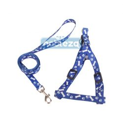 """""""M"""" méretű nyomott mintás hám és póráz szett, kék mintás szinben"""