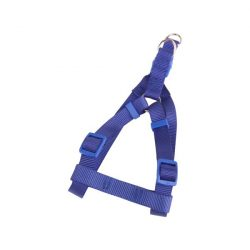 """Kék egyszínű textil kutyahám """"M"""" méret,  2.0cm x 40-60cm"""
