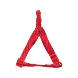 """Piros egyszínű textil kutyahám """"M"""" méret, 2.0cm x 40-60cm"""