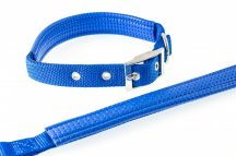 Kék színű textilnyakörv műbőr betéttel, 1,5cmx40cm