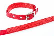 Piros színű textilnyakörv műbőr betéttel, 1.5cmx40cm