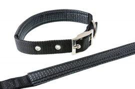 Fekete színű textilnyakörv műbőr betéttel, 2.5cmx60cm