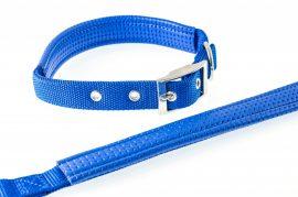 Kék színű textilnyakörv műbőr betéttel 2.5cmx60cm