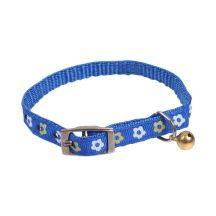 Kék alapon mintás textilnyakörv apró mintával kis csengővel,  Sz1cm x 32cm