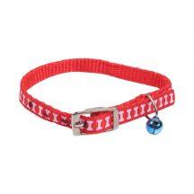 Piros alapon mintás textilnyakörv apró mintával kis csengővel,  Sz1cm x 32cm