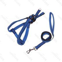 Kék színű hám és póráz szett, méret Sz1.5cm x 120cm; 30-50cm