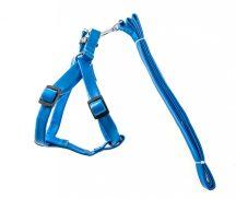 """Kék """"S"""" méretű bőr hatású hám és póráz szett,1.5x30-50cm"""
